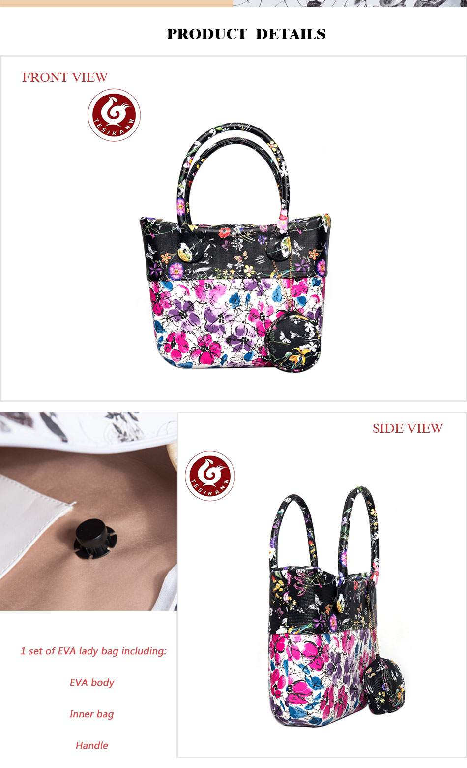 7e3702f15d22 OEM ODM Europe Italy Hot Selling Molded In One body EVA Jelly Bag ...