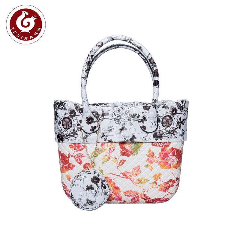 OEM ODM Europe Italy Popular EVA Rhombus Color Printed Beach Handbag With Trim Peony print