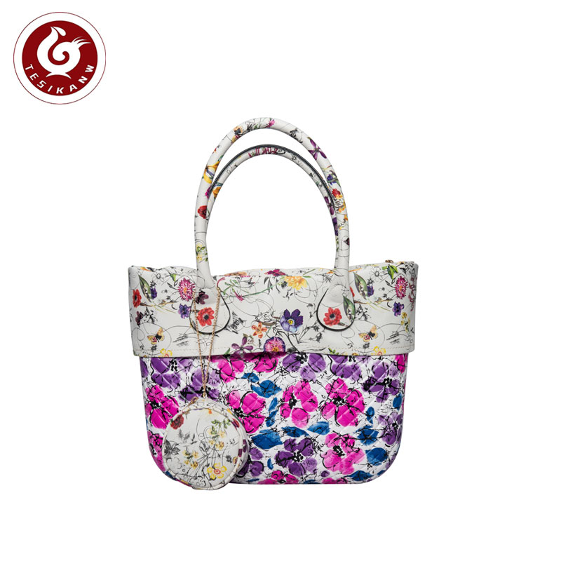 OEM ODM Europe Italy Popular EVA Rhombus Color Printed Beach Handbag With Trim