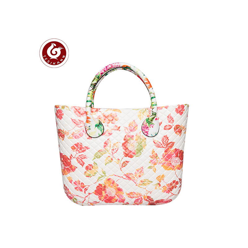 OEM ODM Europe Italy Popular EVA Rhombus Color Printed Beach Handbag  Peony print lovely