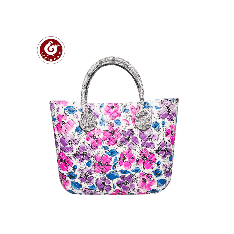 OEM ODM Europe Italy Popular EVA Rhombus Color Printed Beach Handbag lovely