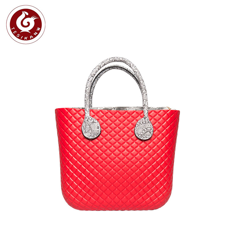 OEM ODM Europe Italy Popular EVA Rhombus Beach Medium Handbag EVA lady handbag EVA lady handbag