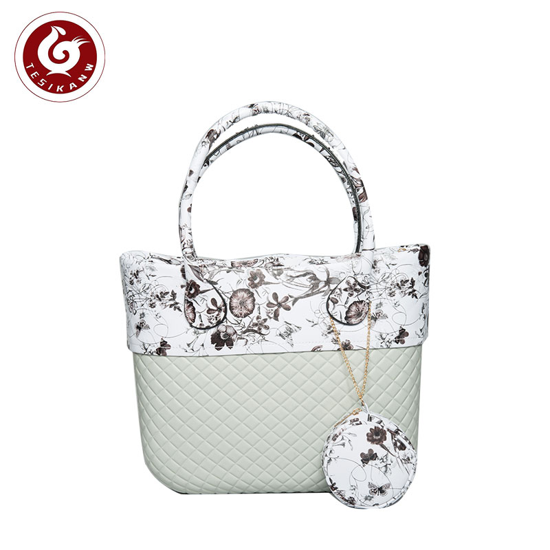 OEM ODM Europe Italy Popular EVA Rhombus Beach Medium Handbag promotional gifts eva tote bags